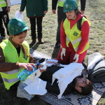 CERT members  providing first aid to the victim